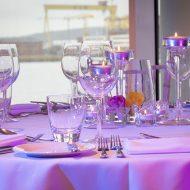 dining utensils set in restaurants with bay watch