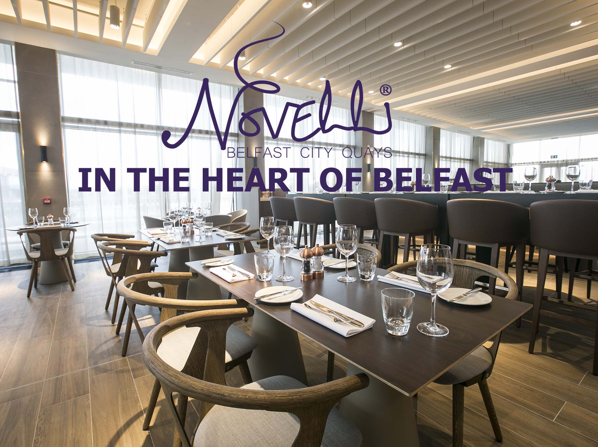 Novelli in the heart of Belfast tables with plates and glass utensils